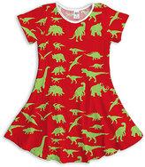 Urban Smalls Red & Green Dinosaur Dress - Toddler & Girls