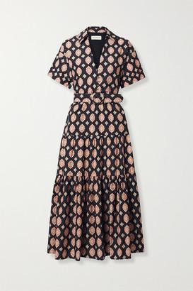 Nicholas Amina Belted Printed Cotton And Silk-blend Maxi Dress - Black