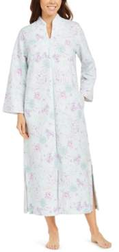 Miss Elaine Floral-Print Quilted Zipper Robe