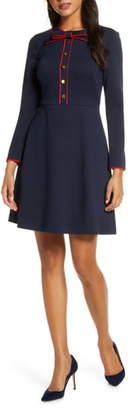 1901 Bow Neck Long Sleeve A-Line Dress