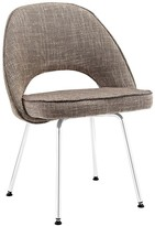 The Well Appointed House Contemporary Brown Dining Upholstered Chair on Sleek Chrome Legs