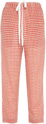 Marni Cropped Checked Silk Crepe De Chine Straight-leg Pants