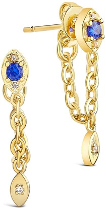 Sterling Forever Gold Plated Charm and Chain Dangle Studs - Blue