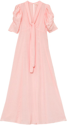 byTiMo Dotted Jacquard Tie-Neck Maxi Dress