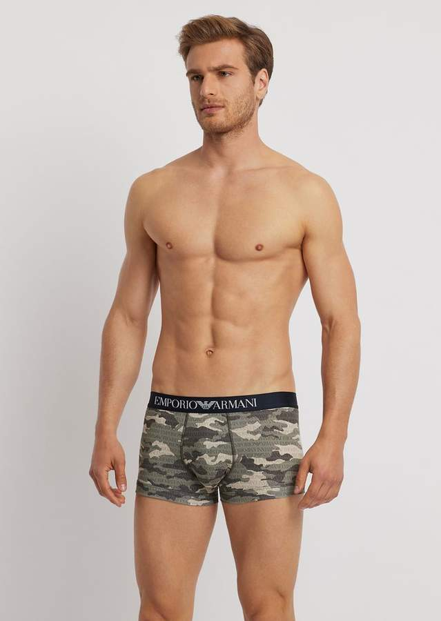 Emporio Armani Stretch Cotton Boxers With Camouflage Pattern And All-Over Logo
