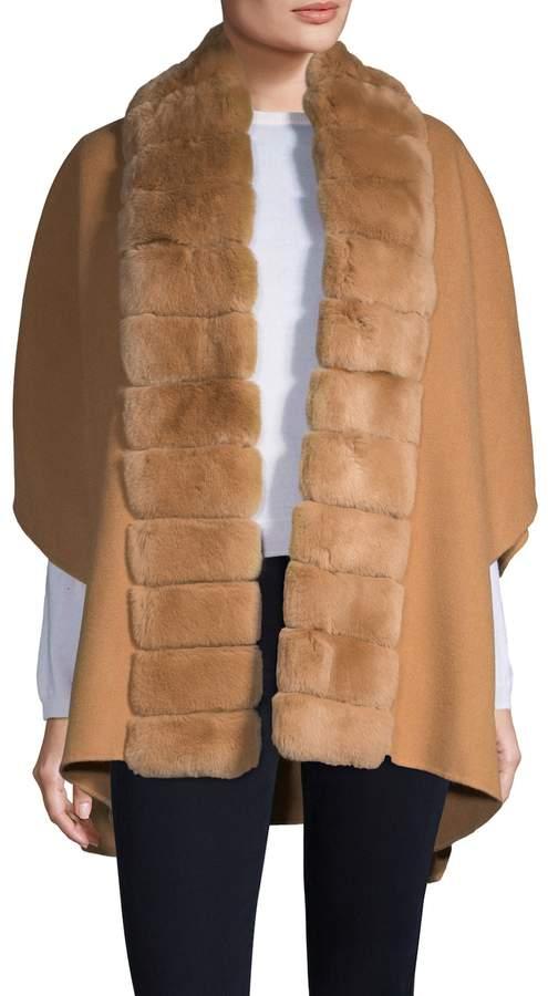Yves Salomon Women's Rabbit Fur Collar Wool-Cashmere Coat