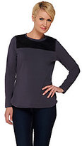 Denim & Co. As Is Active Long Sleeve Knit Top with Faux Suede Suede Yoke