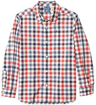 Tommy Hilfiger Adaptive Long Sleeve Sam Woven Shirt (Little Kids/Big Kids) (Poinsettia) Men's Clothing