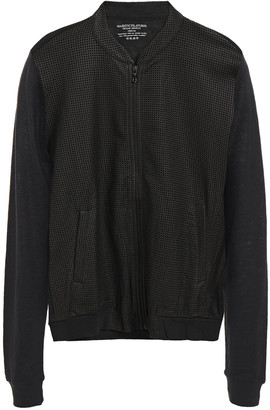 Majestic Filatures Perforated Leather-paneled Linen-jersey Bomber Jacket