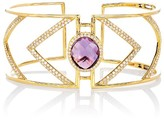 Effy Jewelry Effy Geo 14K Yellow Gold Oval Amethyst and Diamond Bangle, 8.57 TCW