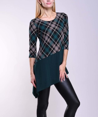 Green & Black Lbisse Women's Tunics Green Tartan Plaid Asymmetrical-Hem Tunic - Women