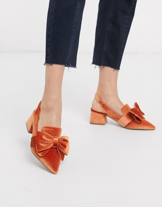 ASOS DESIGN Salsa slingback mid-heels with bow in orange velvet