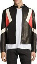 Neil Barrett Modernist Colorblock Leather Biker Jacket, Black