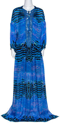 Roberto Cavalli Blue Printed Silk Embellished Neckline Detail Maxi Dress L