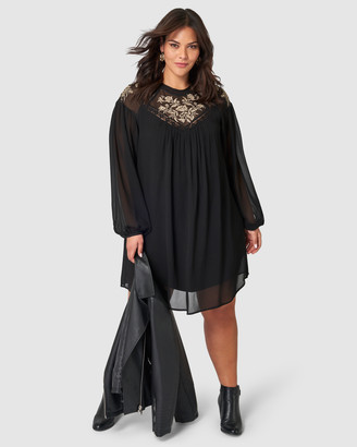 Something 4 Olivia - Women's Black Midi Dresses - Brielle Embroidered Dress - Size One Size, 12 at The Iconic