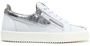 Giuseppe Zanotti Gail Metallic-trimmed Snake-effect Leather Sneakers