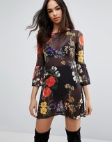 Boohoo Mesh Floral Shift Dress