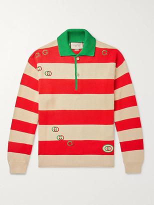 Gucci Logo-Embroidered Striped Cotton Half-Placket Sweater