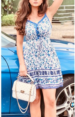 FS Collection Summer Mini Dress With Frill Detail In White & Blue Star Floral Print