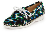 Christian Louboutin Steckel Spike-Midsole Calf Hair Boat Shoe, Blue