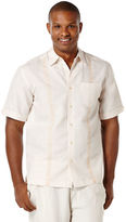 Cubavera Linen Short Sleeve Tonal Ornate Embroidered Shirt