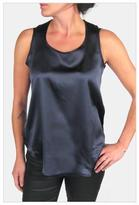Lapis Imminent Rise Deep Silk Tank with Nude Mesh