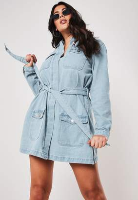 Missguided Plus Size Blue Belted Denim Mini Dress