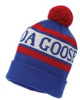 Canada Goose Stitched-Logo Wool Pom-Pom Beanie Hat, White/Blue/Red