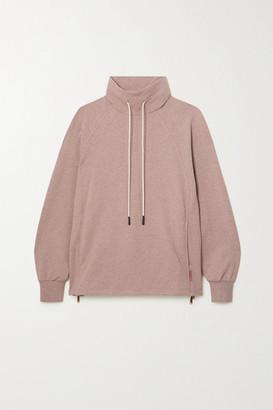 Varley Atlas Zip-detailed Melange Cotton-blend Jersey Sweatshirt - Pink