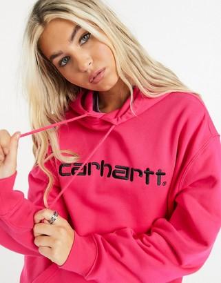 Carhartt WIP hooded carhartt sweater in ruby pink & black
