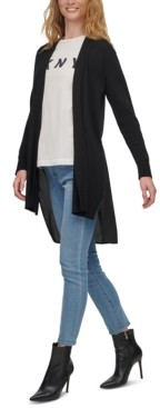DKNY Mixed-Media Asymmetrical Open-Front Cardigan Sweater