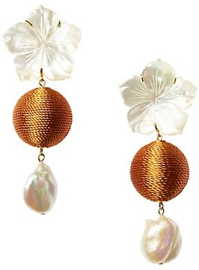 Lizzie Fortunato Paper White 17MM Baroque Pearl Mother-Of-Pearl Flower Drop Earrings