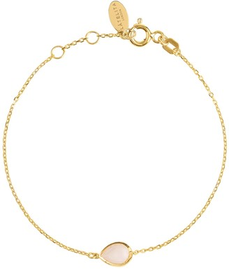 Latelita Pisa Mini Teardrop Bracelet Gold Rose Quartz