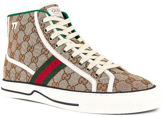 Gucci Tennis 1977 High Top Sneaker in Beige & White & Red & Green | FWRD