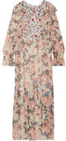 See by Chloe Printed Silk Crepe De Chine And Chiffon Maxi Dress - Off-white
