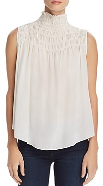 Frame Smocked Silk Swing Top