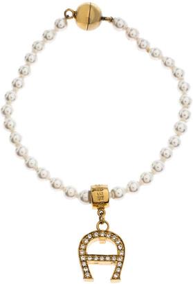 Aigner Faux Pearl Crystal Logo Pendant Magnetic Bracelet