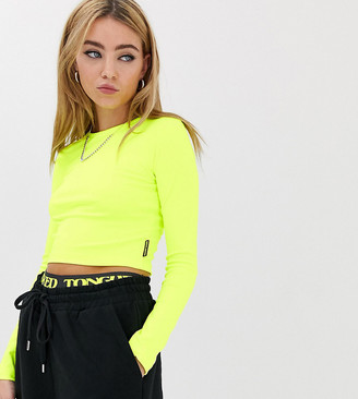 Crooked Tongues long sleeve tight crop top in neon
