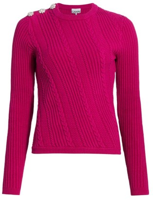 Ganni Cable Knit Crewneck Sweater