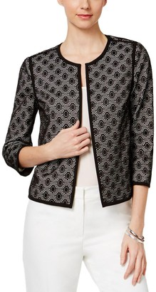 Kasper Women's Petite Size Solid Framed Lace Fly Away Jacket