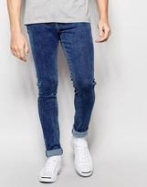 Dr Denim Jeans Leroy Dropped Crotch Super Skinny 70s Stone