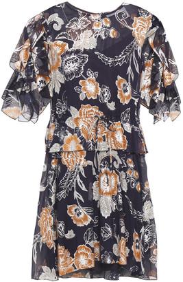 See by Chloe Metallic Floral-print Silk And Cotton-blend Chiffon Dress