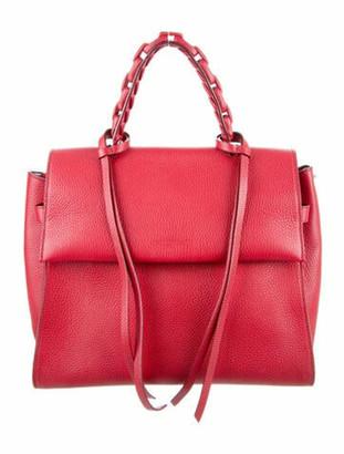 Elena Ghisellini Leather Top Handle Shoulder Bag Red