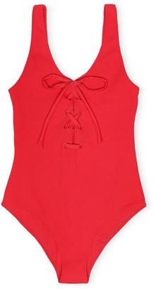 Ganni Textured Swimsuit in Lollipop