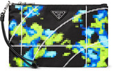 Prada Saffiano Leather-Trimmed Printed Shell Pouch