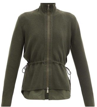Moncler Zip-through Virgin-wool Cardigan - Khaki