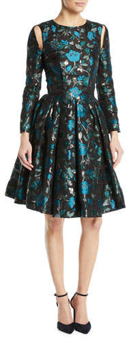 Zac Posen Cutout Long-Sleeve Fit-and-Flare Floral-Jacquard Cocktail Dress
