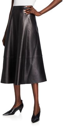 Co Paneled A-Line Leather Midi Skirt