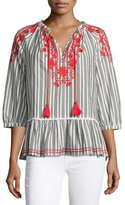 Kate Spade Striped Embroidered Peasant Top