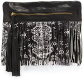 Cynthia Vincent Calida Printed-Fringe Leather Clutch Bag, Black